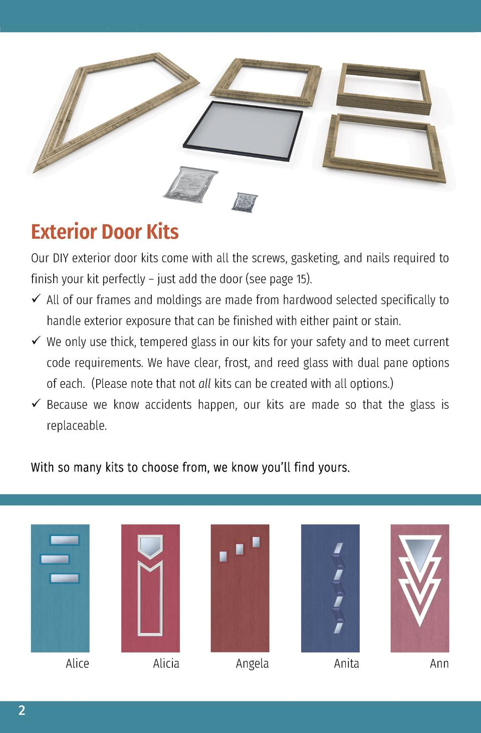 Exterior Door Kits Our DIY exterior door kits come with all the screws, gasketing, and nails required to finish your kit p...